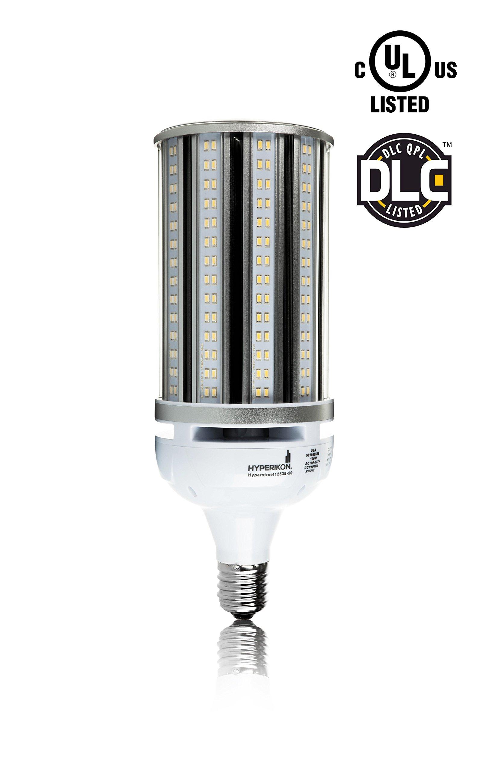 Hyperikon 125W LED Corn Bulb (750-1000 Watt Replacement), Large Mogul Screw Base (E39), 120-227v, LED Street Light, 5000K (Crystal White Glow) 360° Flood Light, Internal Driver, UL-Listed