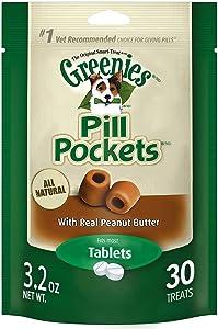 Greenies Pill Pockets, 30 Pockets Per Pack, Peanut Butter Flavor, for Dogs