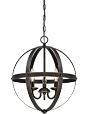 Westinghouse 6341800 Stella Mira Three-Light Pendant, Oil Rubbed Bronze Finish with Highlights