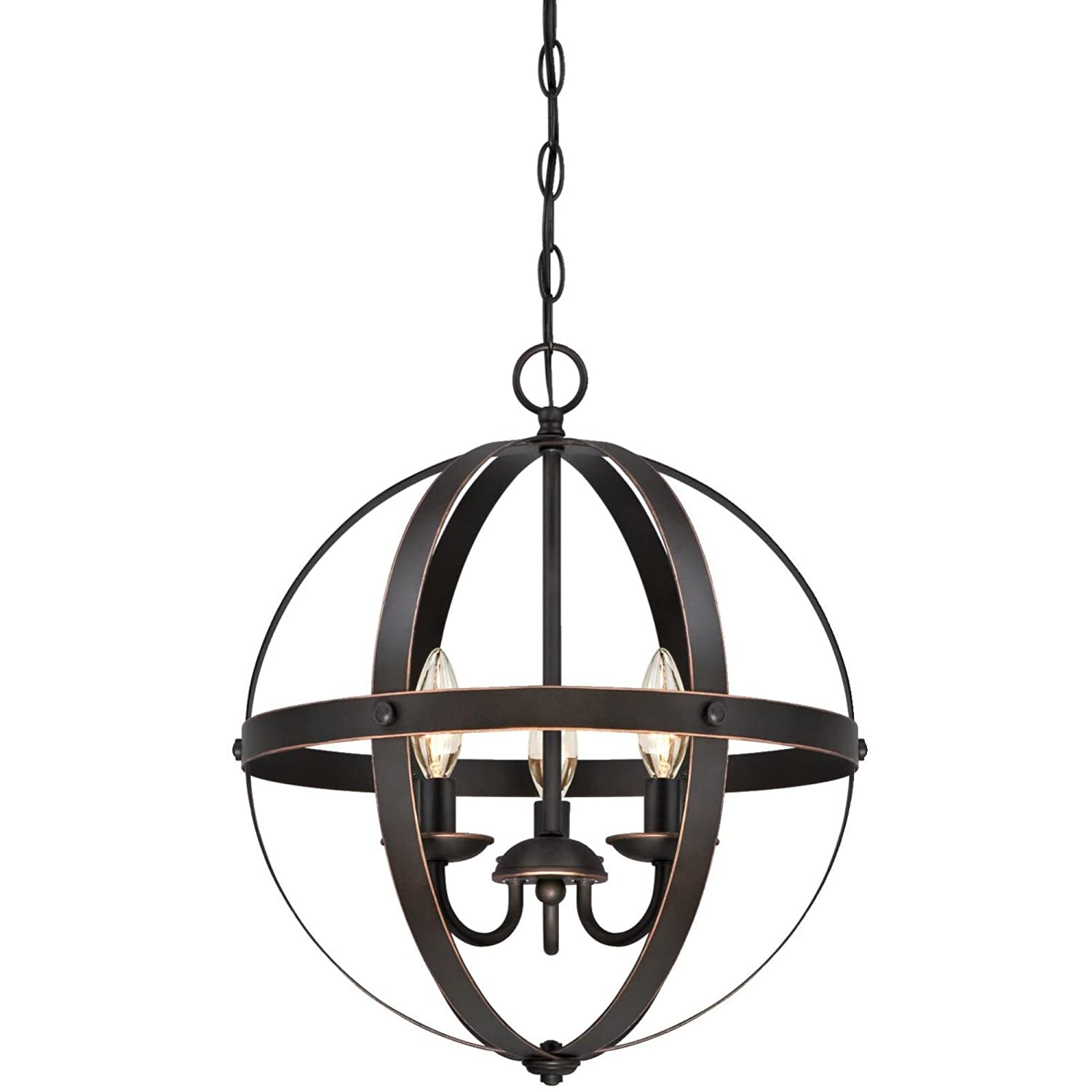 Westinghouse 6341800 Stella Mira Three-Light Indoor Chandelier, Oil Rubbed Bronze Finish with Highlights