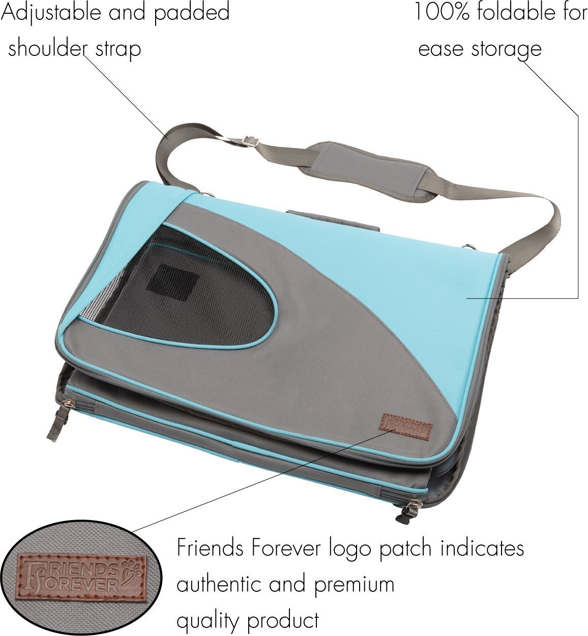 Airline Approved Pet Carrier for Cats, Small Dogs - Soft Cat Carriers Dog Travel Bag for Small Medium Large Cat by Friends Forever (Image #5)