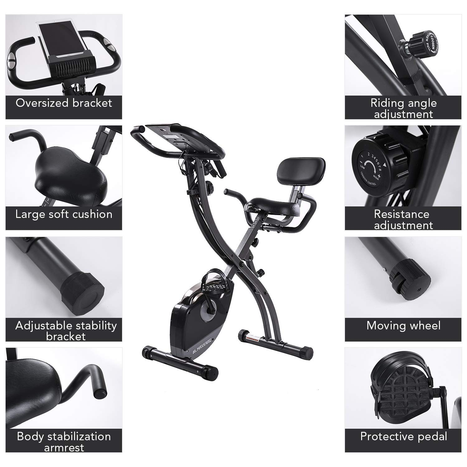MaxKare 2 in1 Folding Magnetic Upright Exercise Bike w/Pulse, Indoor Stationary Bike with Adjustable Arm Resistance Bands and LCD Monitor by MaxKare (Image #5)
