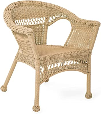 Merveilleux Plow U0026 Hearth 39002 NT Resin Wicker Outdoor Patio Chair, Natural
