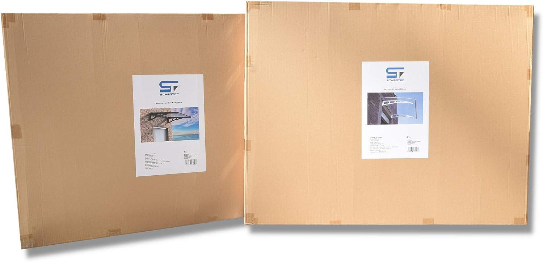SCHARTEC Aluminium-Vordach gew/ölbt als Haust/ürvordach in 120 oder 150 cm Breite Vordach f/ür Haust/ür /Überdachung 1200 x 900 mm