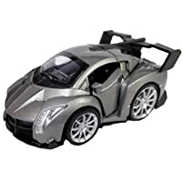 Emob Classic 1:32 Die cast Luxury Model Pull Back Orange Car with Metal Body and Opening Door Feature (Grey)