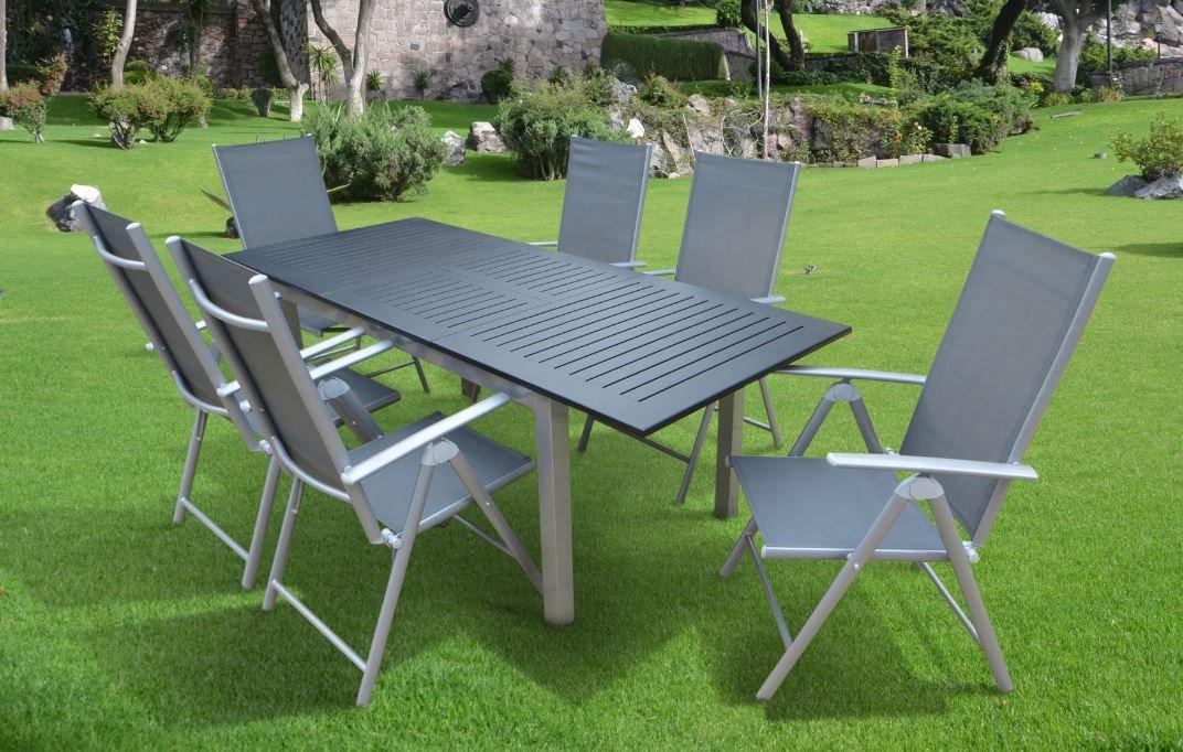 7-teilige Luxus Aluminium Textilen Gartenmöbelgruppe Doppler Mandalika Garden #y in anthrazit silber taupe, Klappsessel und Ausziehtisch