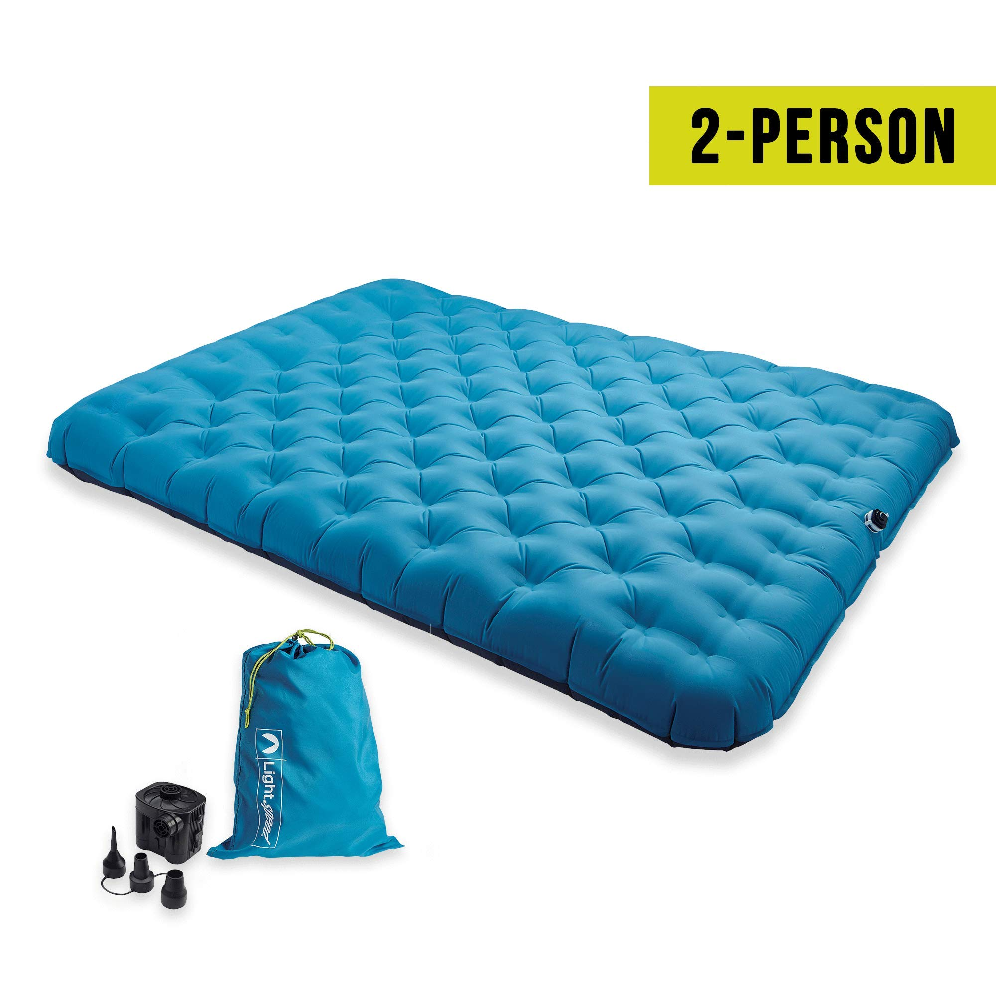 Lightspeed Outdoors 2 Person PVC-Free Air Bed Mattress for Camping and Travel (Light Blue) by Lightspeed Outdoors