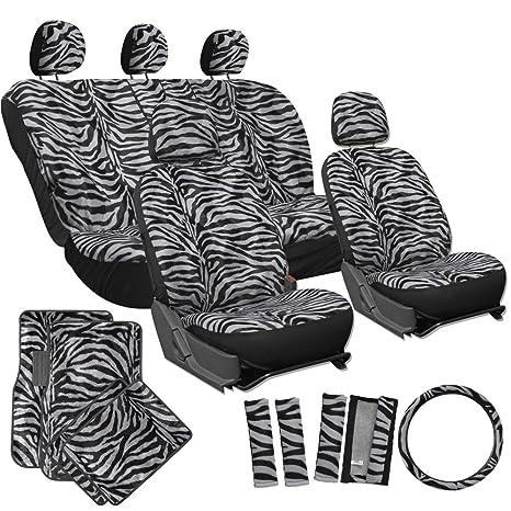 OxGord 21pc Set Zebra Car Seat Cover Carpet Floor Mats Steering Wheel Shoulder Pad