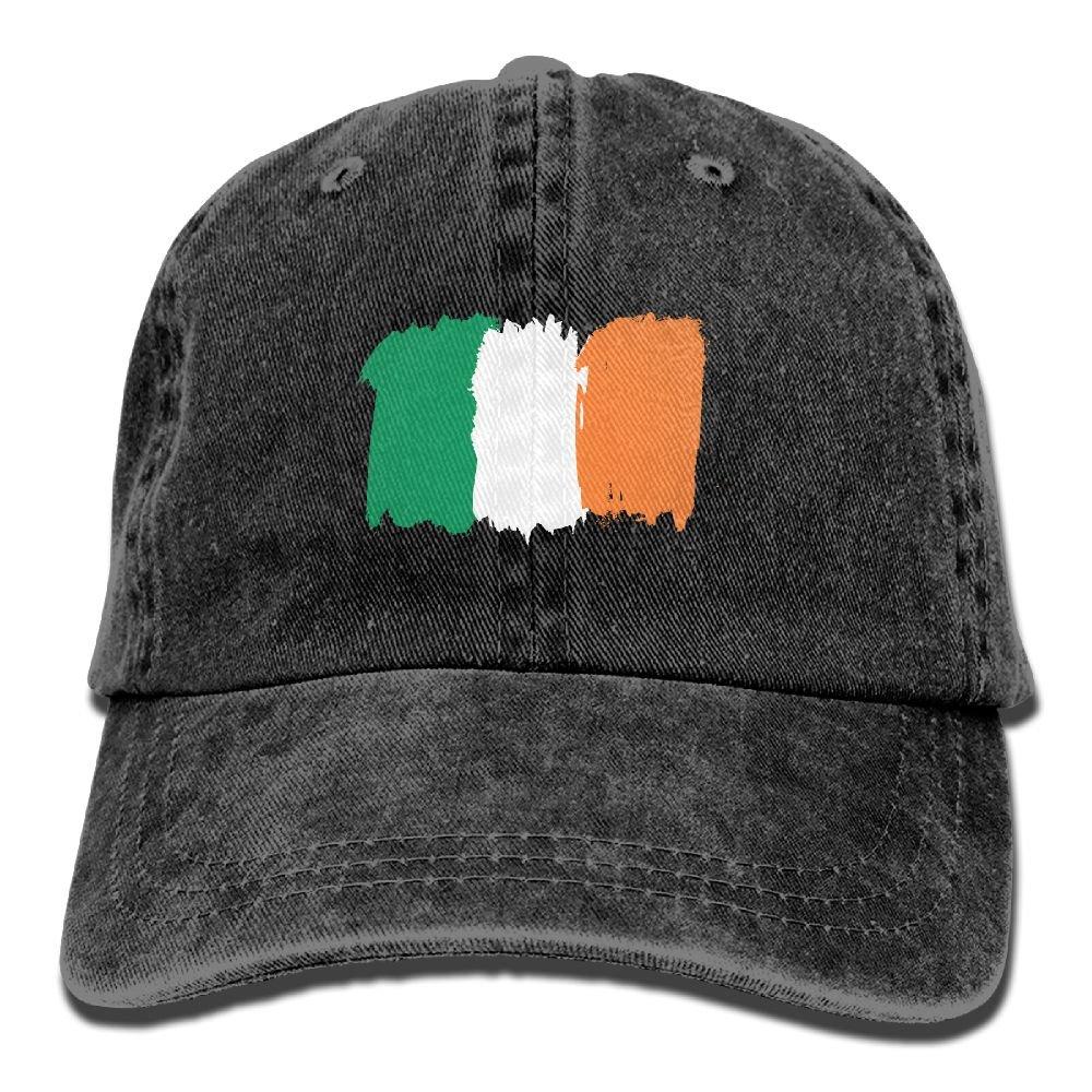 Flag of Ireland Plain Adjustable Cowboy Cap Denim Hat for Women and Men