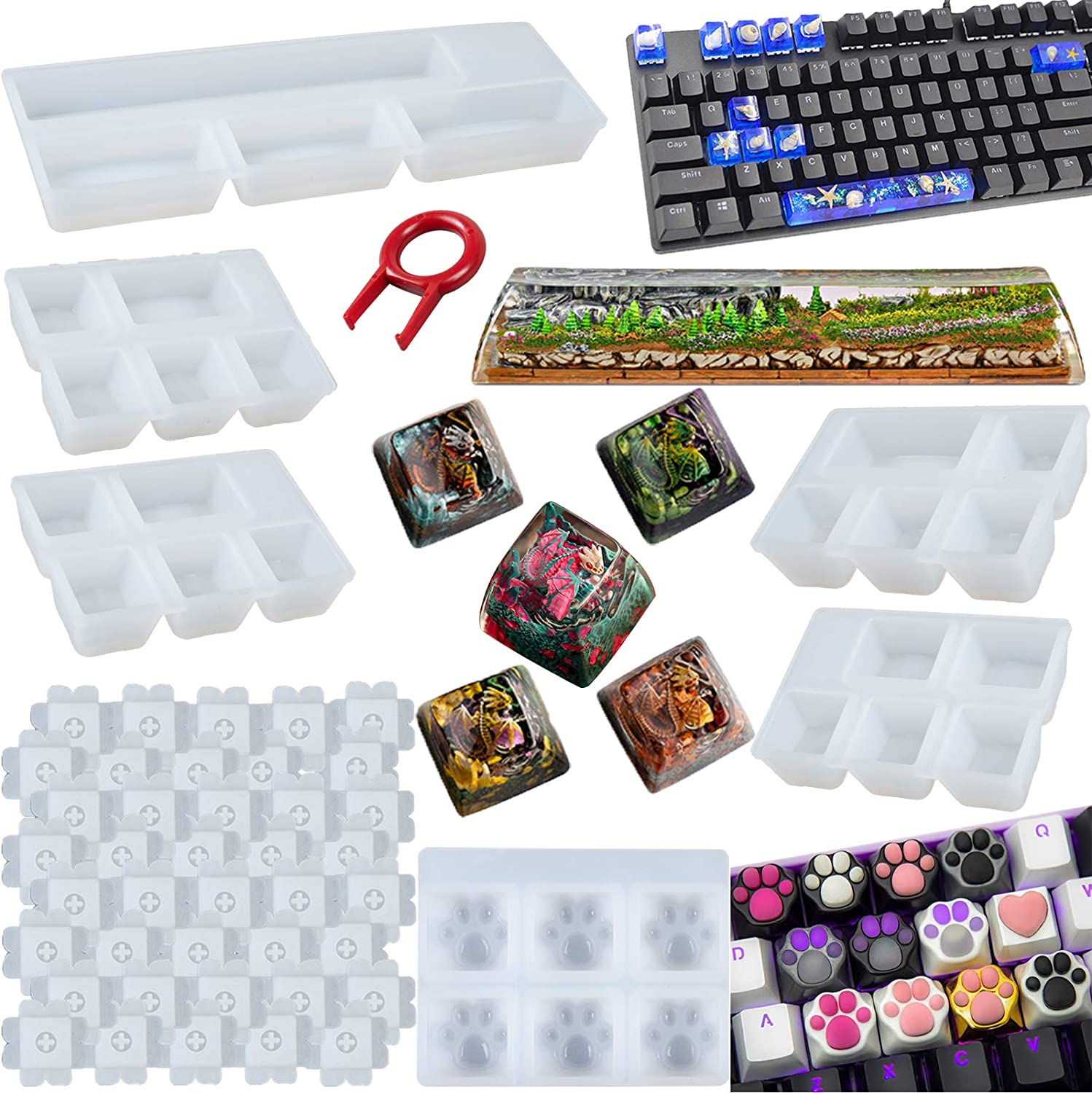 Keyboard Resin Making Tools Silicone Mould Key Cap Resin Mold Keyboard Molds