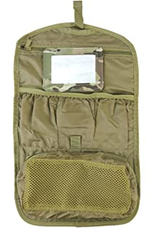 184d6ed3680 British Army Combat Zip Compact Hanging Camo Travel Shave Wash Kit Roll Bag  BTP