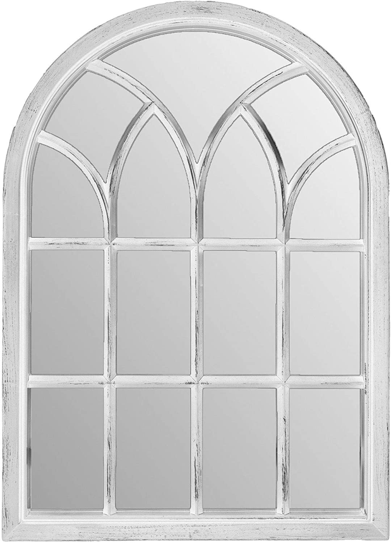 "Palais Essentials Farmhouse Wall Decor Arched Wall Mirror, Rustic Wood Windowpane Frame (White Wash, 28"" X 20"")"