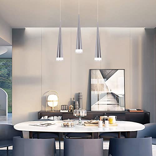 CHYING Modern Kitchen Island Lighting, Mini Cone 3-Light Pendant Light Ceiling Light with Acrylic Shade Chandelier 15W Cool White 6500K Adjustable Lights Fixtures for Kitchen Island Dining Room