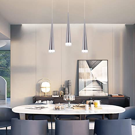 CHYING Modern Kitchen Island Lighting, Mini Cone 3-Light Pendant Light  Ceiling Light with Acrylic Shade Chandelier 15W Cool White 6500K Adjustable  ...