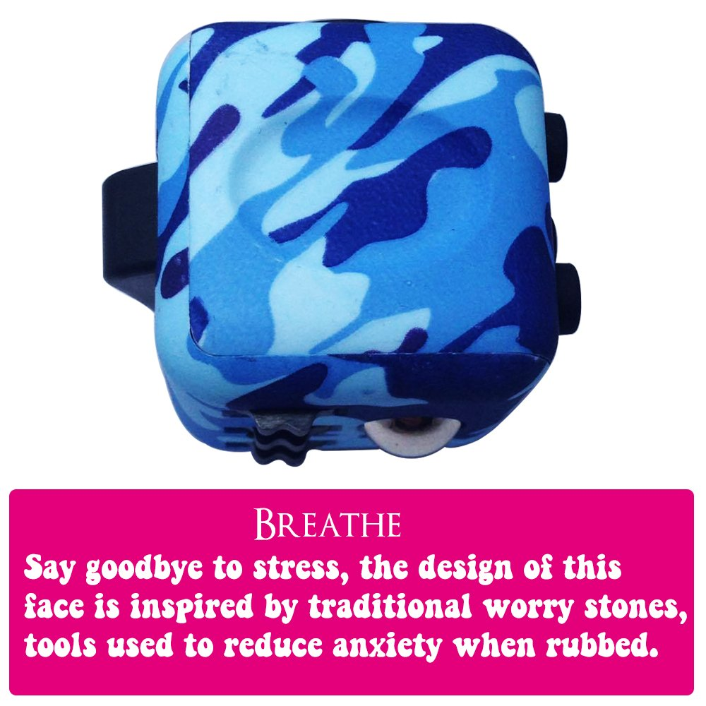 LvnWin Fidget Cube Dice Toy Stress Reducer Helps Focusing Relax Anti-Anxiety Boredom For ADD, ADHD, EDC, Kids and Autism Adult Children (Camo Blue) by LvnWin (Image #8)