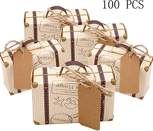 CNNIK 100 Piezas Mini maleta Caja Caja Favor Caramelo Caja Vintage ...