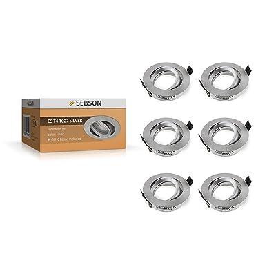 SEBSON - Spot encastré orientable - Pour ampoule LED et halogène - Argenté, Aluminium, Silber, 6er Set