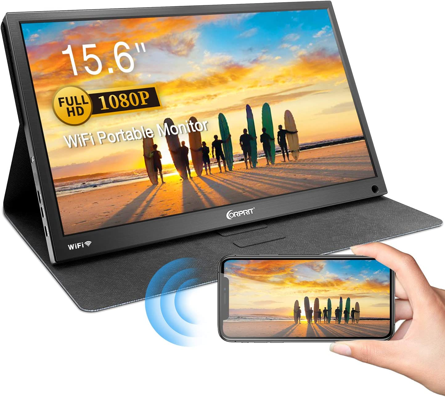 """Wireless Portable Monitor, Corprit Wireless Display Airplay Miracast Monitor for iPhone Samsung Screen Mirroring, 15.6"""" 1080P FHD USB C Monitor HDMI External Secondary Display for Laptop PC PS4 Xbox"""