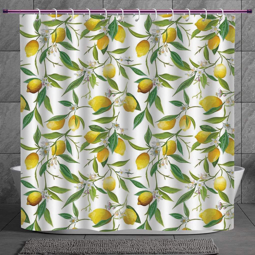 Nature Flowering Lemon Shower Curtain Woody Plant Habitat Citrus Bathroom Decor