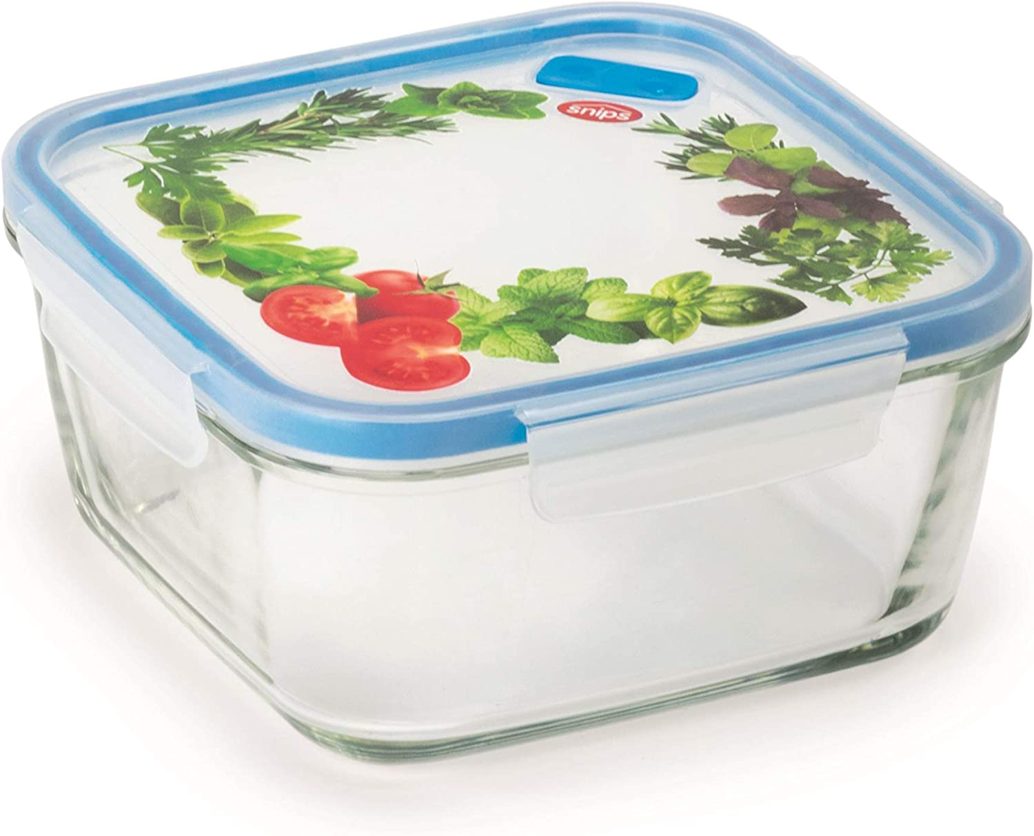 Snips Lock Glass Square Food Container 1.40L Transparent with Decoration