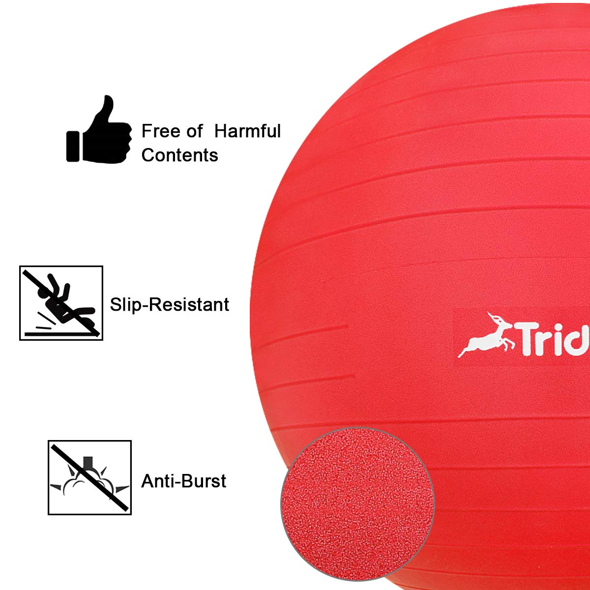 Trideer Ball Chair - Exercise Stability Yoga Ball with Base for Home and Office Desk, Ball Seat, Flexible Seating with Ring & Pump, Improves Balance, Back Pain, Core Strength & Posture by Trideer (Image #4)