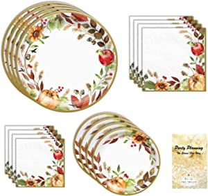 Fall Thanksgiving Friendsgiving Party Supplies, Grateful Day Design, 18 Guests, 108 Pieces, Disposable Paper Dinnerware, Plate and Napkin Set