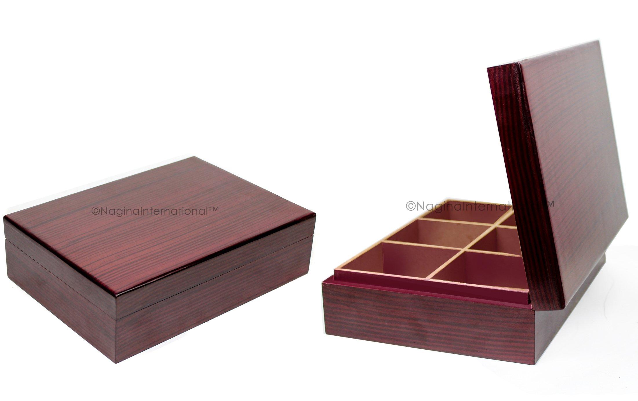 Rosewood Imprinted Beautifully Grained Plain Tea Bag & Sachet Storage Box | Hand Crafted Tea Chest | Nagina International