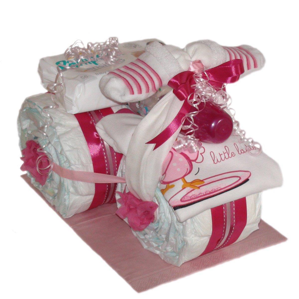 Großes Windeldreirad Girl Tolles Geschenk zur Taufe oder Geburt Windeltorten.Eu