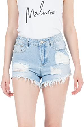 Damen Jeans Shorts High Waist Hot Pants Mit Spitze Hoher Bund Stretch Hose Kurz Damenmode Damenmode