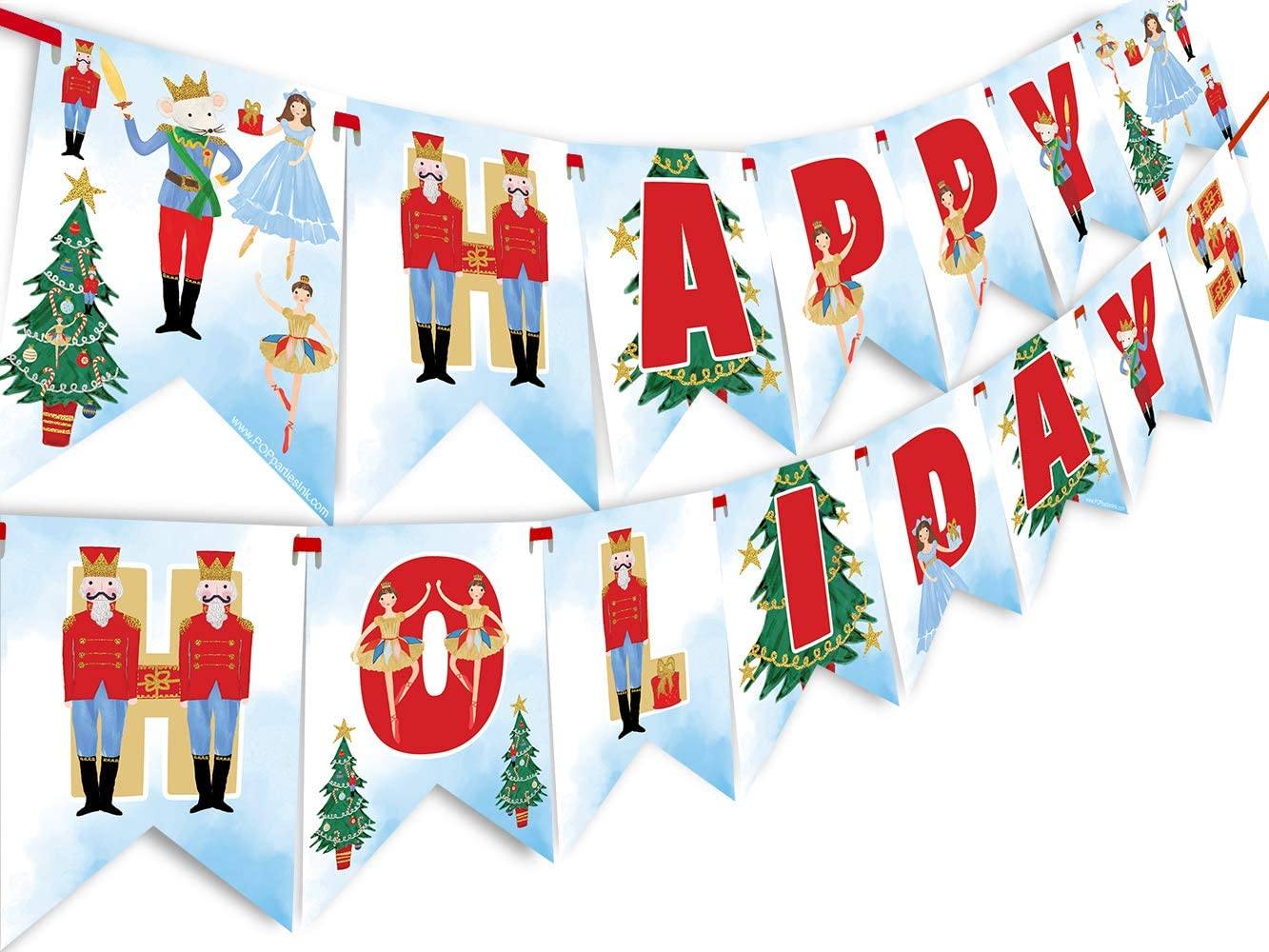 Nutcracker Happy Holidays Banner - Nutcracker Party Supplies - Nutcracker Party Decorations - Christmas Party Decoration - Holiday Party Supplies- HH Light