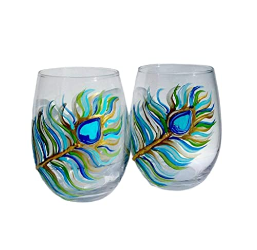 Teal Hand Painted stemless Wine Glasses