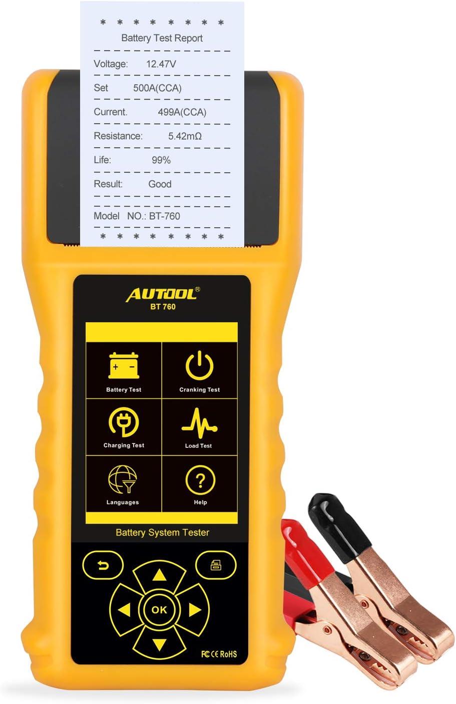 AUTOOL BT-760 6V / 12V / 24V Comprobador Baterias Coche, 20-3000 EN Analizador de Diagnóstico Probador Bateria con Impresora Térmica Incorporada