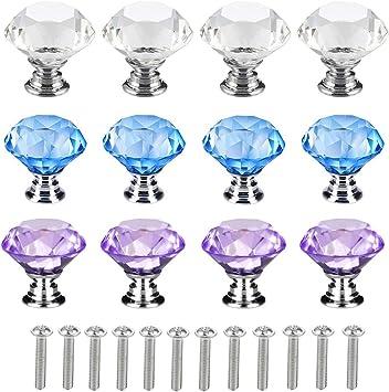 Tiradores de puerta con revestimiento de diamante de cristal transparente de 30 mm Perillas de los cajones del gabinete de cocina Algunos tornillos Herrajes para puertas Barukra