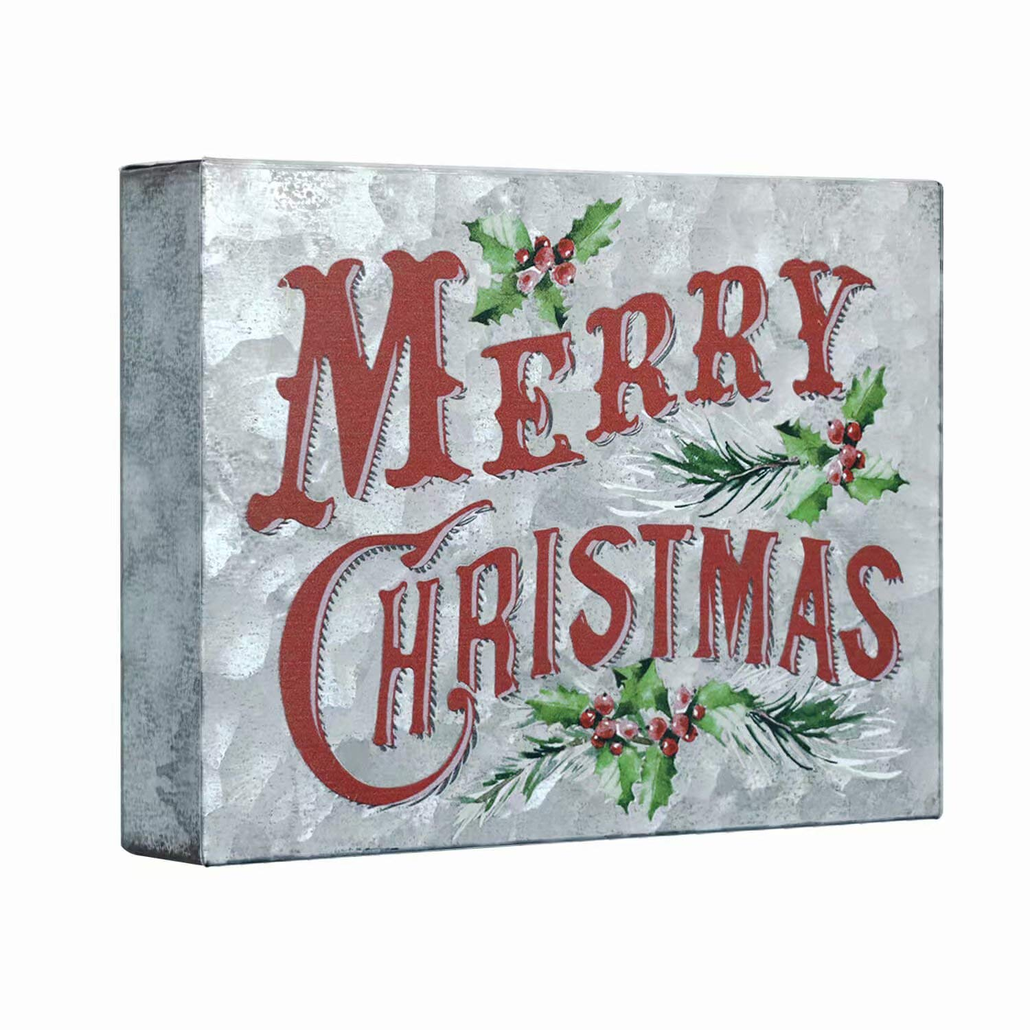 SANY DAYO HOME 6 x 8 inches Colorful Retro Galvanized Sheet Box Sign with Inspirational Saying for Home and Office Decor - Merry Christmas