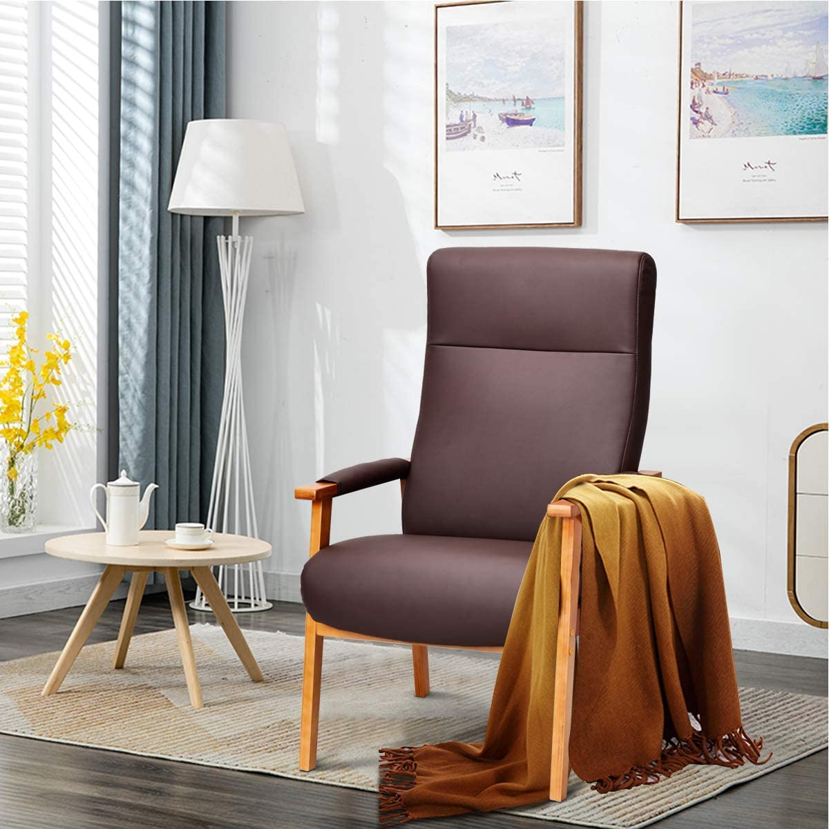 Giantex Accent Arm Chair PU Leather, High Lounge with Comfortable and Removable Cushions, Armrests Club Chair for Living Room, Office, High Back Armchair (Brown)