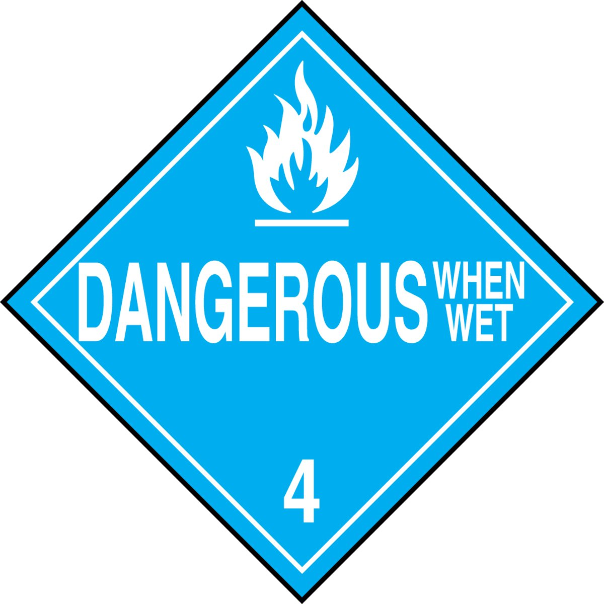 Pack of 100 LegendDANGEROUS WHEN WET 4 with Graphic 10-3//4 Width x 10-3//4 Length Accuform Signs 10-3//4 Width x 10-3//4 Length Accuform MPL402CT100 PF-Cardstock Hazard Class 4 DOT Placard LegendDANGEROUS WHEN WET 4 with Graphic White on Blue