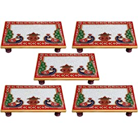 White Box Marble Chowki Set of 5 with Peacock Design for Puja (6x4 inch, Multicolor)