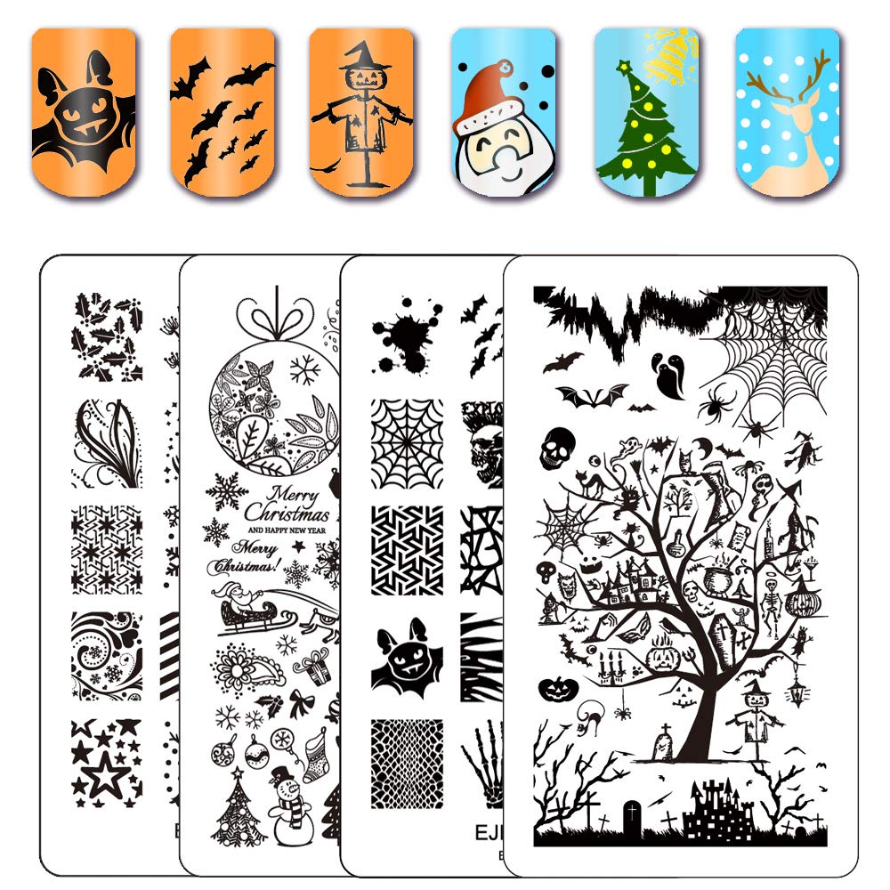Ejiubas Stamping Plates Christmas Nail Stamping Kits Halloween & Christmas Image Nail Art Plates Manicure Tools Double-sided 2 Counts 4 Sides