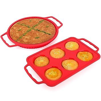 Nuovoware Bandeja de Hornear de Silicona, [2 PACK] Moldes para Torta Reutilizables de Silicona de Calidad Alimentaria Moldes Antiadherentes para Hornear ...