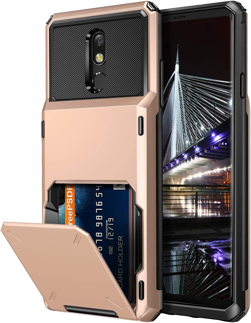 Vofolen Case for LG Stylo 5 Case Wallet [4-Card Pocket] Credit Card Holder ID Slot Anti-scratch Dual Layer Protective Bumper Tough Rubber Armor Non-slip Hard Shell Cover Case for LG Stylo 5 -Rose Gold