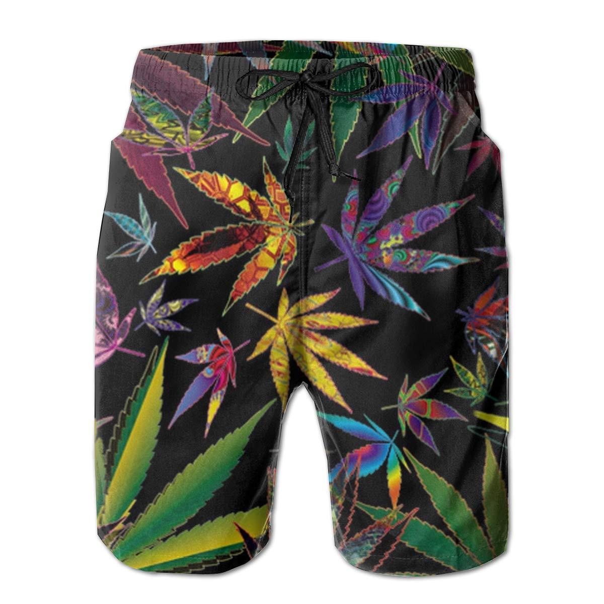 Mens Swim Trunks Summer Trippy Multi Marijuana Leaf Weed 3D Print Graphic Casual Athletic Swimming Short