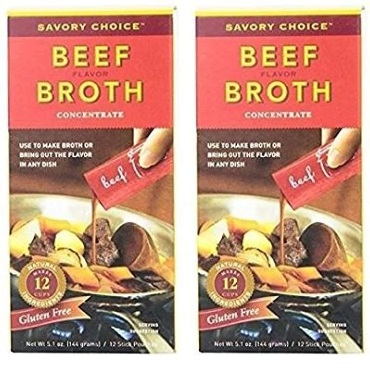 Savory Choice Liquid Beef Broth Concentrate 5.1 Ounce Box (Pack of 2)