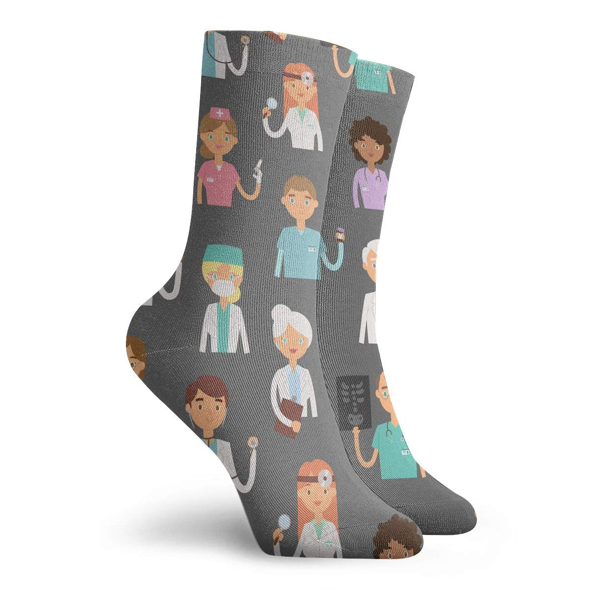 Women Men Doctors Profession Charactsers Pattern Cushion Crew Socks
