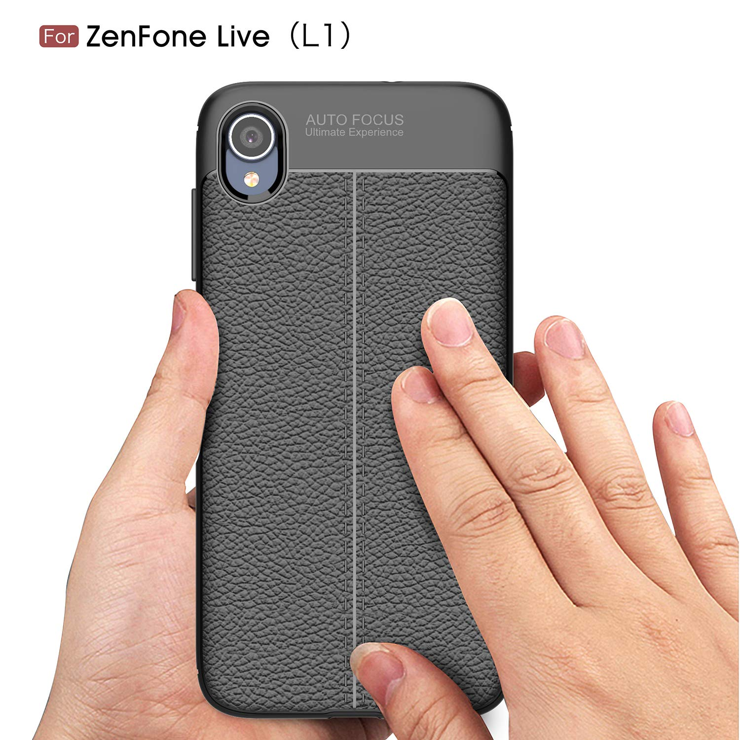 1 Screen Protector 9H Tempered Glass Protector HD Clear Film-Gray for Asus Zenfone Live L1 ZA550KL Case Litchi Pattern Back Cover Ultra-Thin TPU Bumper