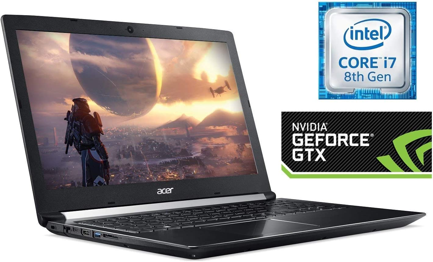 "Acer Aspire 7 Gaming Laptop, 15.6"" Full HD IPS Display, Intel 6-Core i7-8750H, 256GB SSD + 1TB Firecuda Gaming SSHD, 16GB DDR4, NVIDIA GeForce GTX 1050Ti 4GB, Backlit Keyboard, HDMI, USB C, Win 10"
