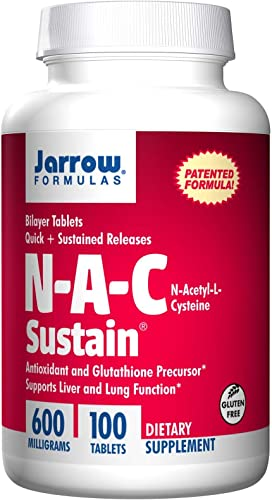Jarrow Formulas Nac Sustain 600mg, 100 Tablets Pack of 2