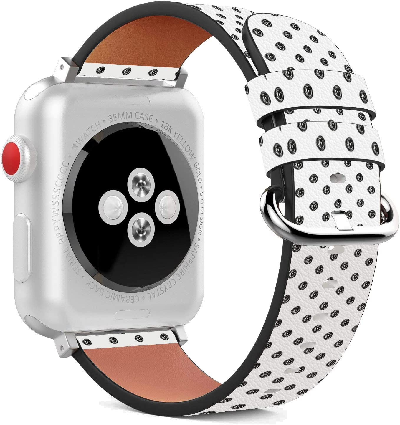 Compatible with Apple Watch - 38mm / 40mm (Serie 5,4,3,2,1) Leather Wristband Bracelet with Stainless Steel Clasp and Adapters - Black White Polka Dot