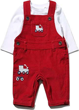 M/&Co Baby Boys Denim Dungarees and Stripe Bodysuit Set