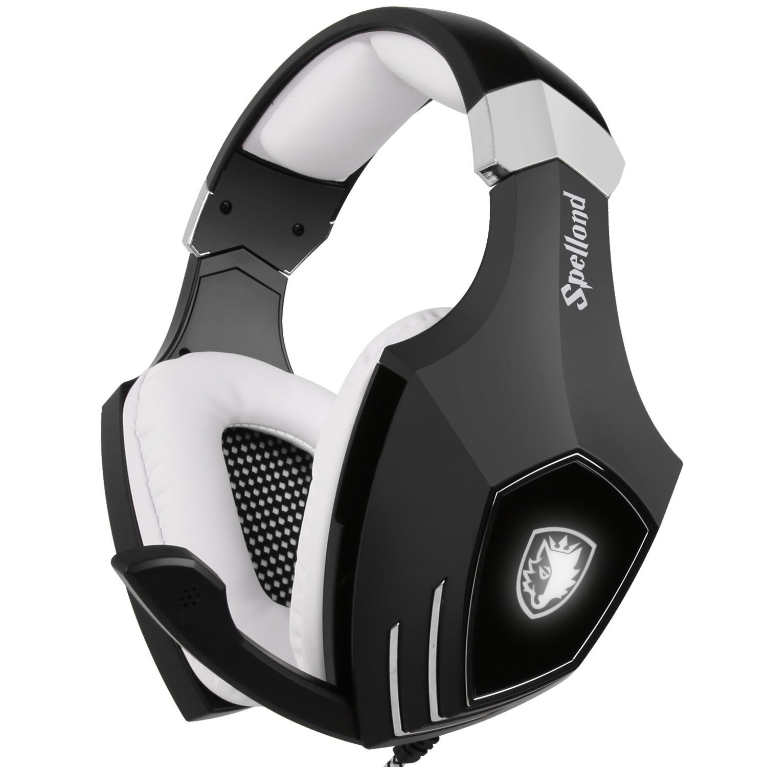 USB Gaming Headset-SADES A60/OMG Computer Over Ear Stereo Heaphones with Microphone Noise Isolating Volume Control LED Light (Black+White) for PC & MAC by SADES