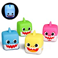 MALLMALL6 Little Sharks Light Up Bath Toys Flashing Bathtub Toy Set Bathroom Floating Rubber Shark Squeeze and Squirting Water Toys for Toddler Preschool Shower Games Swimming Pool Birthday Party